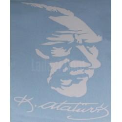 Atatürk imzalı Portre, Beyaz Renkli, Yapışkan Etiket