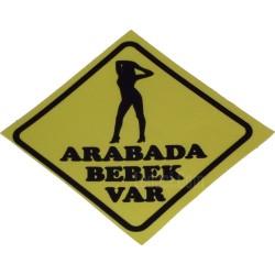 """""""Arabada Bebek Var"""" Sarı Renkli, Yapışkan Etiket, Sticker"""
